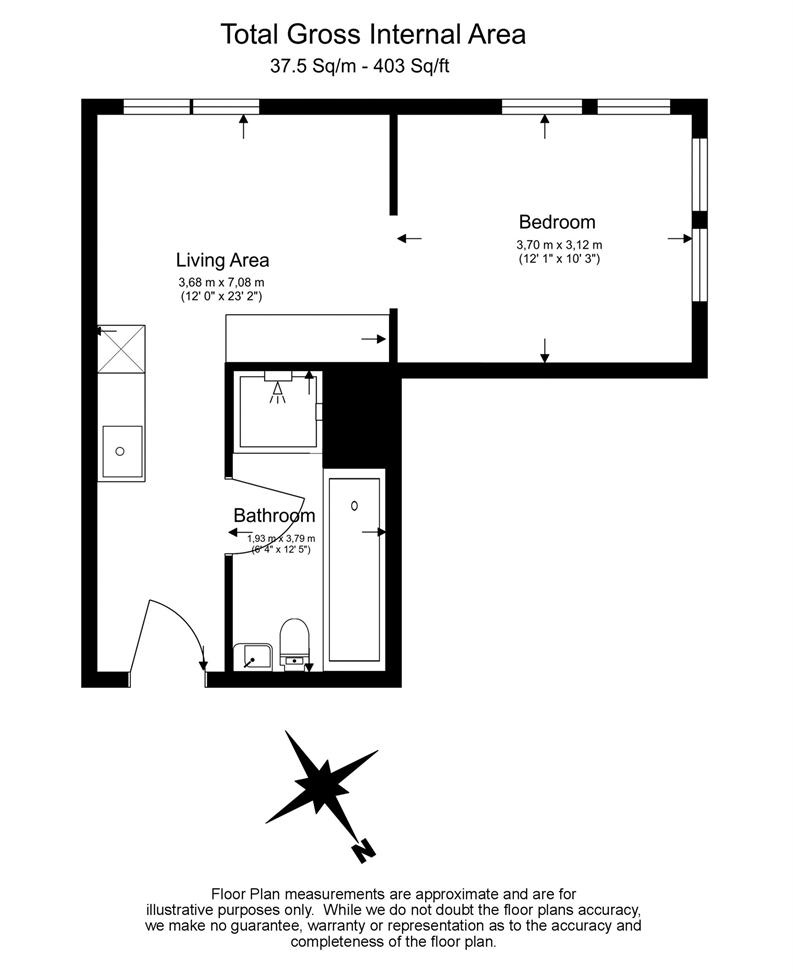 1 bedroom(s) apartment to sale in County Hall, 1 Addison Street-Floorplan