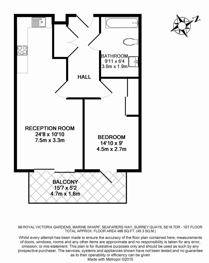 1 bedroom(s) apartment to sale in Royal Victoria Gardens, Whiting Way, London-Floorplan