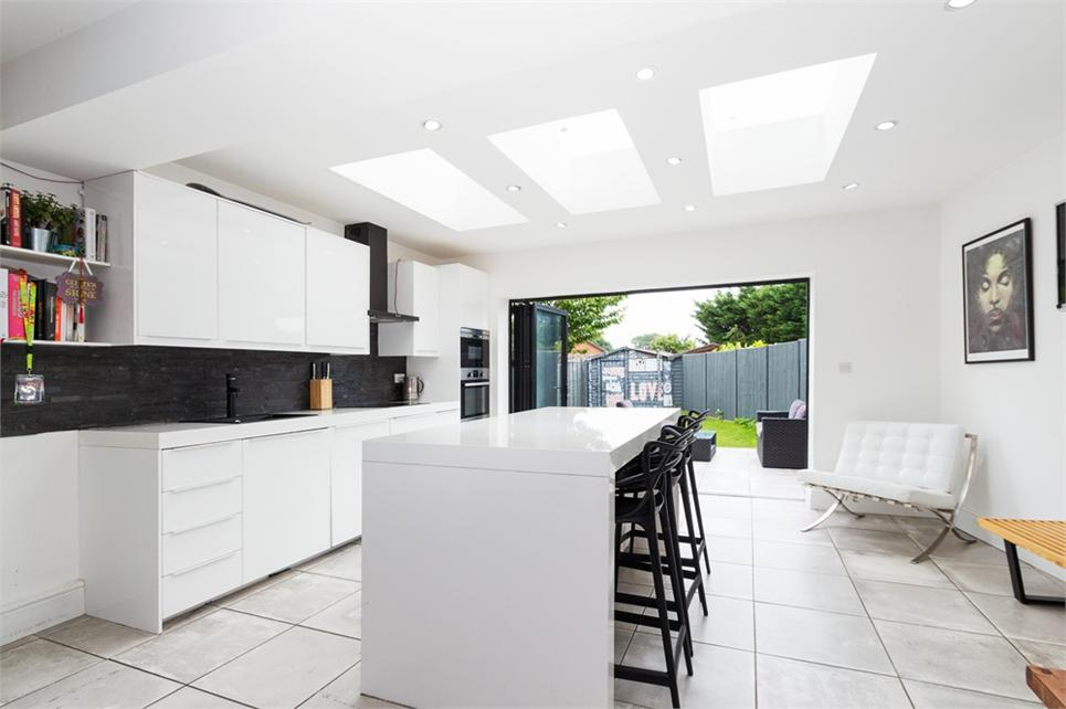 stunning 33ft kitchen/living/dining area with bi-fold doors