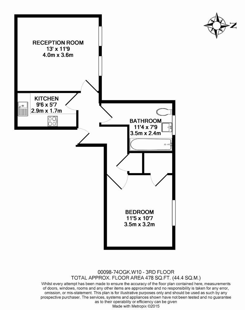 1 bedroom(s) apartment to sale in Oxford Gardens, London-Floorplan