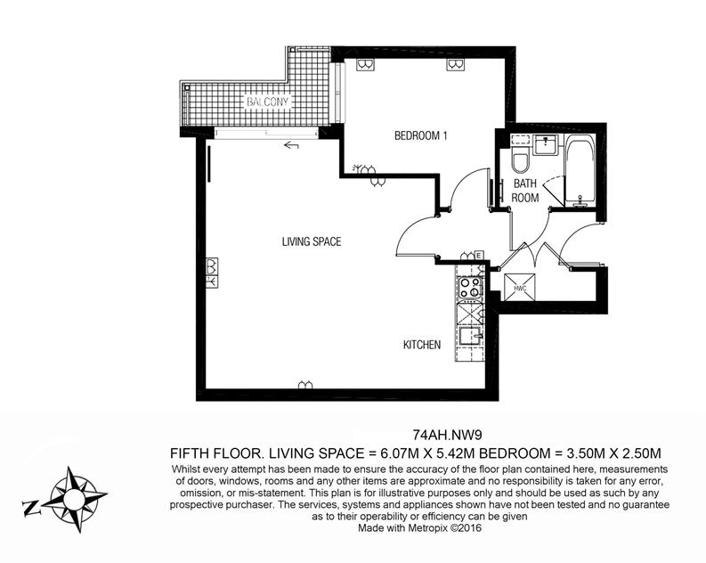 1 bedroom(s) apartment to sale in Amelia House, 11 Boulevard Drive, London-Floorplan