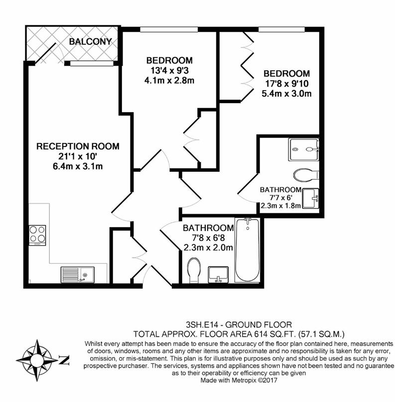 2 bedroom(s) apartment to sale in Slate House, 11 Keymer Place, London-Floorplan