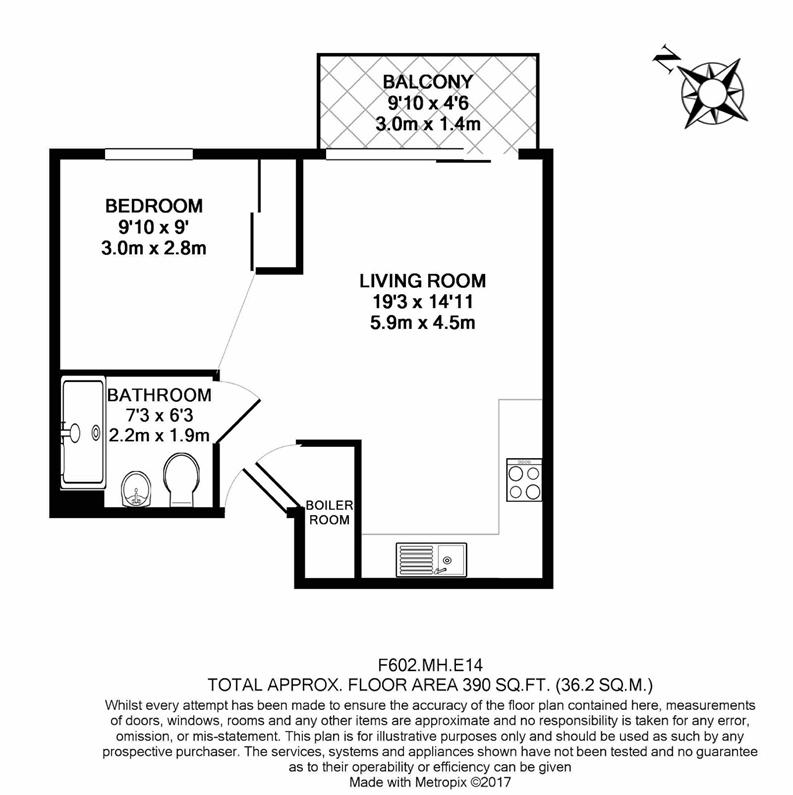 Studio apartment to sale in Mellor House, 57 Upper North Street, London-Floorplan